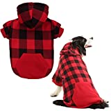 KOOLTAIL Plaid Dog Hoodie for Large Dogs Pet Clothes, Red XXL