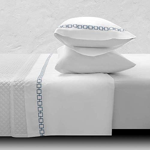 ORNISA 400 TC 100 Cotton Sheets Beautifully Designed White Sheets Fits Mattress 16 Deep Pocket product image