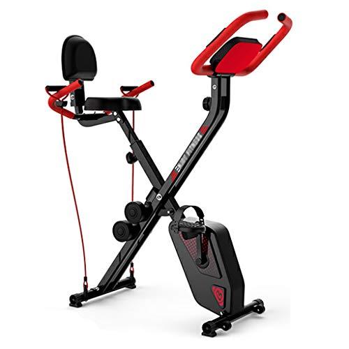 WH SHOP Bicicleta Estática 3 en 1, Bicicleta de Ejercicios Multifunción, Bicicleta Vertical de Interior de Ciclo, con 8 Niveles de Resistencia Magnética Ajustable, Banda de Resistencia y Mancuernas