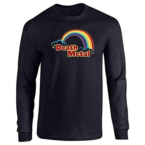 Death Metal Retro Rainbow 70s 80s Sarcastic Black L Full Long Sleeve Tee T-Shirt