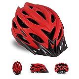 Bicicleta de carretera,MTB,casco de bicicleta para exteriores, con visera solar desmontable y luz trasera, 25 ventilaciones, casco de seguridad cómodo y ajustable para bicicleta deportiva (rosa roja)