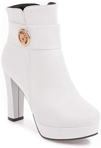 ZHRUI Stiefel para damen - Stiefel cálidas de tacón Alto schuhe de Invierno Stiefel cálidas una Variedad de Farbees para Elegir   36-43 (Farbe   Weiß, tamaño   41)