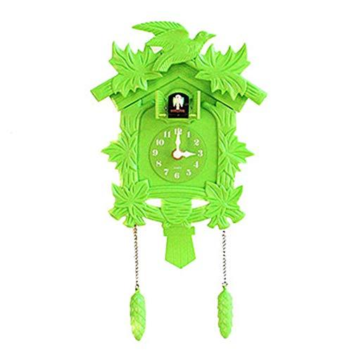 CuteLife Reloj cucú Reloj de Pared de Reloj de Cuco con pájaro Cuco Reloj de Pared Colgando decoración de la casa Reloj de Pared de Cuco (Color : Verde, Size : 14 Inches)