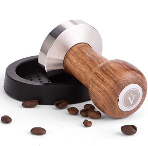 VIENESSO Hochwertiges Barista Tamper Set (51 mm) – edler Espresso Stempel aus Edelstahl und formfeiner Echtholzgriff inkl. schützender Ablage-Matte, Siebträger-Zubehör für zu Hause + gratis E-Book