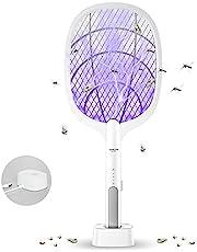 DANGZW Elektrische Vliegenmepper, 2 in 1 3000V USB Oplaadbare Elektrische Vliegenmepper met Oplaadbasis, Elektrische Vliegenvanger Insectendoder voor Muggen, Vliegen, Bijen, Motten