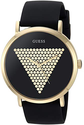 GUESS Men's Quartz Stainless Steel and Silicone Watch, Color:Black (Model: U1161G1)