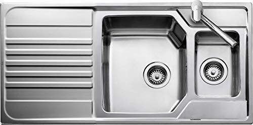 Teka 12128010 fregadero de cocina hecho de acero inoxidable con un solo y medio cuenco premium 11⁄2B 1D REV 2Ø AUTO WST+CL+CB-12128010, color gris
