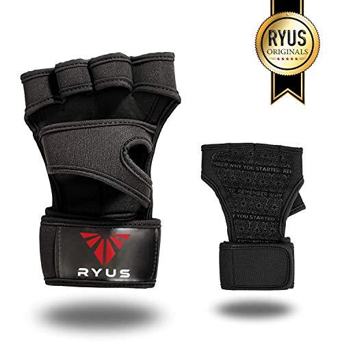 RYUS® ReactGrip Pro - Fitnesshandschuhe, Fingerlose Trainingshandschuhe mit Extra Grip und Handgelenkstützen in schwarz für Damen und Herren (M)