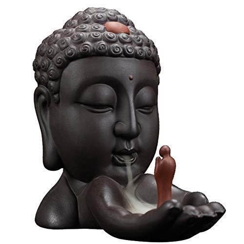 Semli Backflow Incense Burner Chinese Buddha Head Incense Burner Holder Creative Home Decor Ceramic Censer Buddhawith 50 pcs Incense Cones