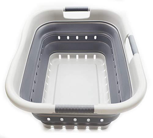 SAMMART Collapsible 3 Handled Plastic Laundry Basket - Foldable Pop Up Storage ContainerOrganizer - Portable Washing Tub - Space Saving HamperBasket 3 handled rectangular GreyDark Grey