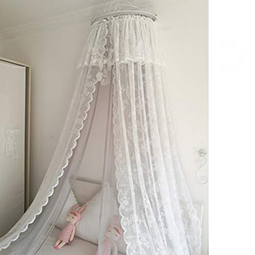 Lowest Prices! GE&YOBBY Lace Bed Canopy,Princess Double Mesh Bed Curtain with White Metal Crown for ...