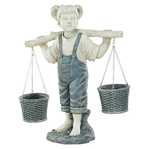 AYDQC SDHUA Flores para Felicity niña pequeña Estatua de jardín de Piedra de Dos Tonos estatuas de jardín esculturas decoración de Arte de Patio al Aire Libre