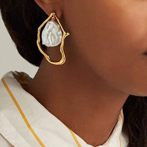 LIUL Pendientes de Perlas de imitación Irregulares barrocas geométricas de Metal Dorado para Mujer Pendientes de Fiesta de Boda de Moda