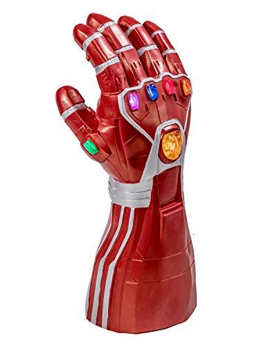 Tony Handschuhe Gauntlet Cosplay Kostüm Infinity Rot Hand Handschuh mit LED Energy Stones Replik Erwachsene Herren Film Merchandise Zubehör