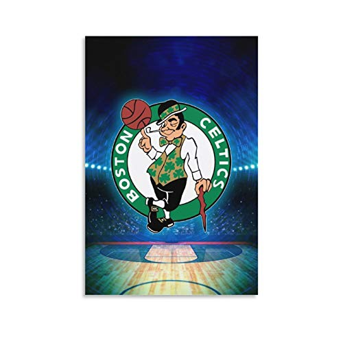 ATOLLIE Sports Poster Team Logo Wall Art Painting Boston Celtics Canvas Art Poster and Wall Art Picture Print Modern Family Bedroom Decor Posters 08×12inch(20×30cm)