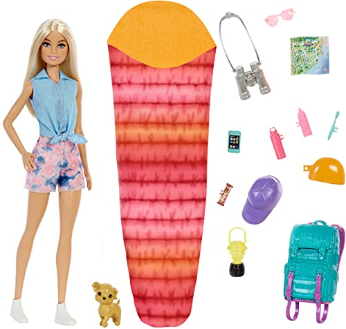 """Barbie It Takes Two """"Malibu"""" Camping Doll (11.5 in Blonde) with Pet Puppy, Backpack, Sleeping Bag & 10 Camping Accessories, Gift for 3 to 7 Year Olds"""