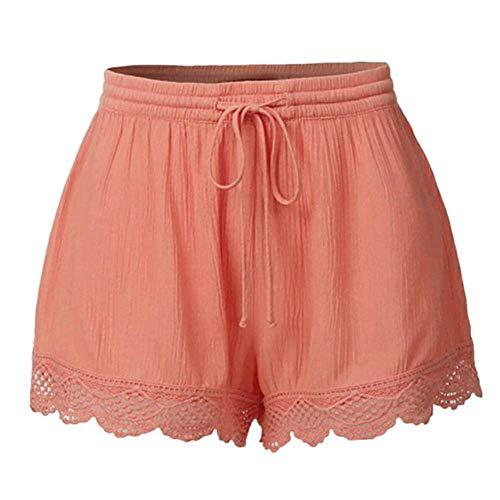 Staresen Shorts Damen Sommer Kurze Hose Lose Shorts Einfarbige Freizeithose aus Spitze Schnür Shorts Mode Frauen Weite Hose Sporthose Sommer Strandshorts Freizeithose Beachshort