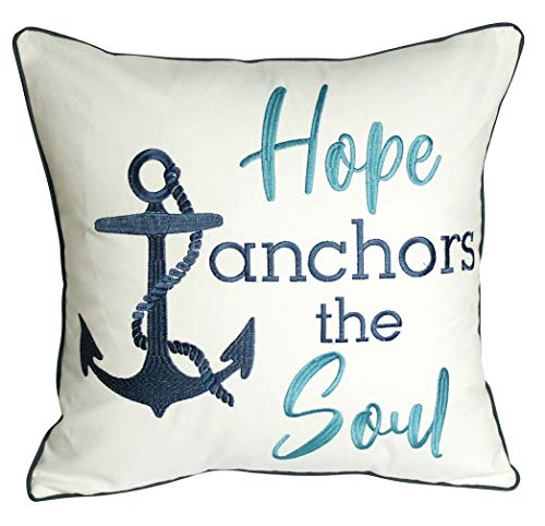 DECOPOW Embroidered Hope Anchors The Soul Throw Pillow