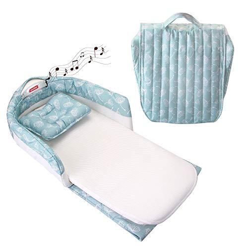 UPPEL Lits bébé lit voyage enfant lit bebe avec matelas avec lecteur de musique et veilleuse lit bebe pliant lit nomade bebe(Vert)