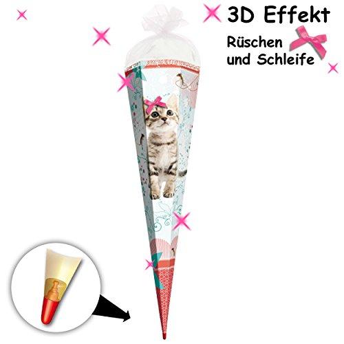 alles-meine.de GmbH 3-D Effekt Rüschenborte + Schleife ! _ Schultüte -  süße Katze & Blumen  - 70 cm - Filzabschluß - Zuckertüte - mit Holzspitze - Roth - Mädchen - Kätzchen Bl..