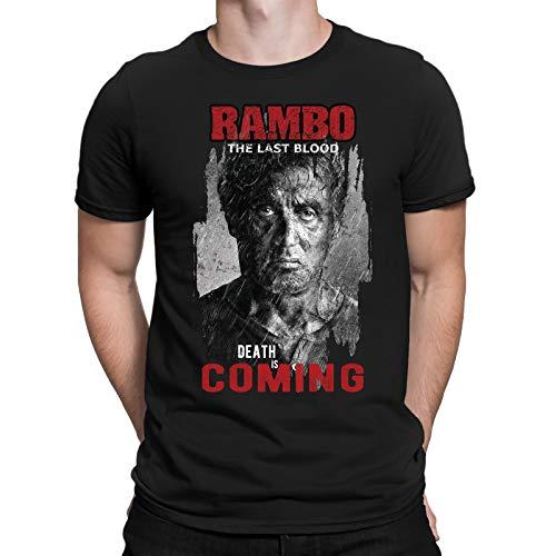 Rambo Last Blood Death is Coming Algodón De Los Hombres Interesante Impresión Verano Personalidad Cuello Redondo Respirable Correr Moda Unisexo Regalos De Fiesta
