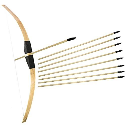 Bambus Bogenschießen Set 1x 1m langer Bambusbogen und 13x 53cm lange Gummispitz-Pfeile für Kinder ab 6 Jahre - Indoor Outdoor Langbogen Holzbogen Spielzeug Bogen-Set (1x Standardset + 10 Pfeile)
