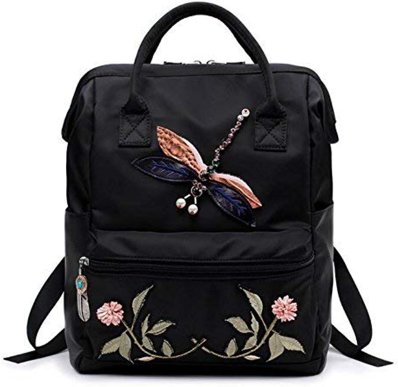 Pureed Doppelte Umhängetasche National Wind Geeignet Style Libelle Stickerei Oxford Tuch Mädchen Doppel Tasche Schultertasche (Farbe   Colour, Größe   One Größe) B07QCMMK62