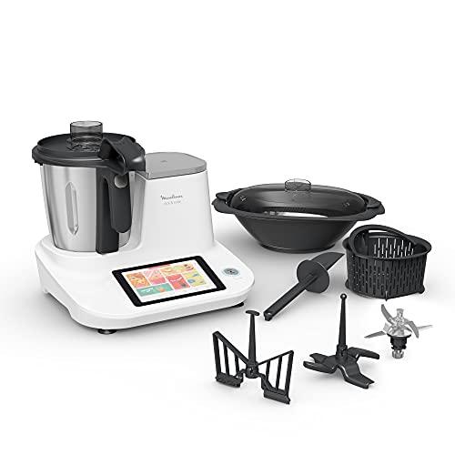 Moulinex Click & Cook HF5061 - Robot de Cocina Multifunción, 600 recetas integradas, 10 programas automáticos, color blanco