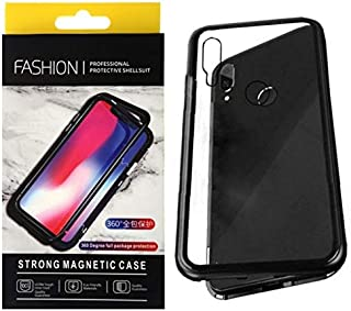 For Huawei Nova 4 Magnetic Full Cover 2 Pieces Metal Frame, Tempered Glass Back Case - Black Frame