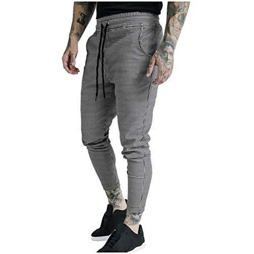 MINIKIMI joggingbroek voor heren, slim fit geruit broek, fitness-sportbroek met elastische tailleband