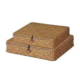 Chytaii 2pcs Panier de Rangement Plat Panier avec Couvercle pour étagère Boîte de Rangement Tissage en Rotin pour Le…