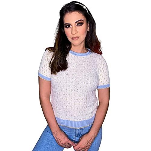 Blusa Feminina com Maga Valentina de Algodão Moda Verão Cor:Branco;Tamanho:M