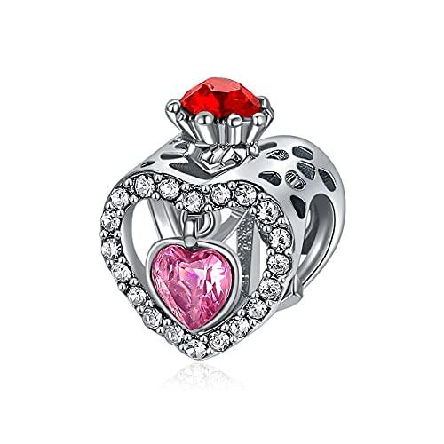 Pandora 925 Sterling Silver DIY Jewelry CharmCast cuentas con corazones de cristal corona estilo fresco pulseras collares para mujeres color regalo de san valentín
