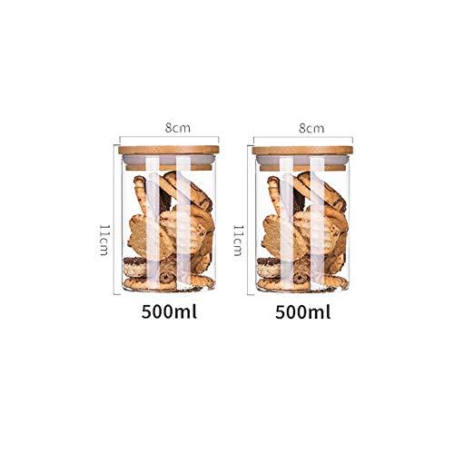 BCGT Envases de Almacenamiento hermético con Tapas de bambú despensa, Botes de plástico Transparente de harina, Granos, almacenaje del alimento, 2pcs (Color : 500ml)
