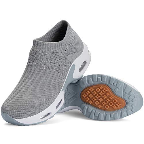 Mishansha Zapatillas Mujer Deporte Gimnasio Zapatos Mesh Ligero Bambas para Andar Correr Casual Sneakers Gris C N, Gr.39 EU