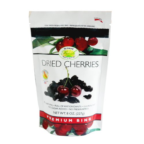 Dried Dark Sweet Cherries, 8oz bag, No Added Sugar, Sunrise Fresh Dried Fruit Co.