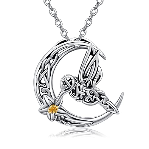 Hummingbird Necklace Gifts for Women Sterling Silver Cresent Moon Bird Pendant Necklace Celtic Jewelry for Daughter Girlfriend Birthday