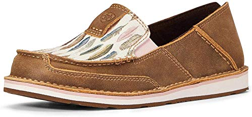 ARIAT Women's Watercolor Feather Cruiser Shoes Moc Toe Brown 9 W