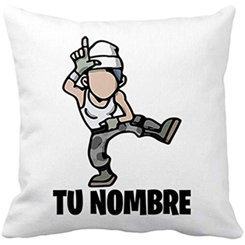 Diver Bebé Cojín con Relleno Parodia Pose Take The L Baile Loser Personalizable con Nombre - Blanco, 35 x 35 cm