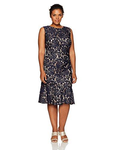 Eliza J Women's Plus Size Sleeveless Dress Peplum Hem, Navy, 16W