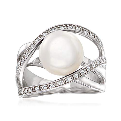 Ross-Simons 10mm Cultured Pearl and .10 ct. t.w. White Zircon Highway Ring...