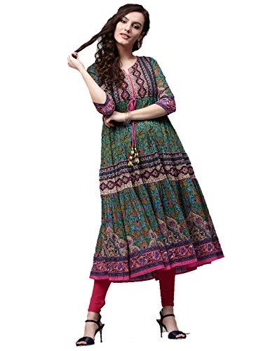 Dream Angel Fashion Womens Tunic Top to Wear with Leggings Kurta Kurtis Indian Party Wear (Green & Pink, XX-Large-42)