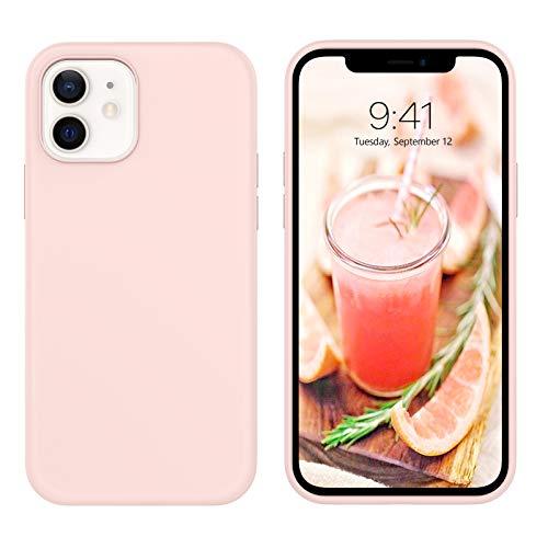 BENTOBEN iPhone 12 Hülle iPhone 12 Pro Hülle Silikon Case, iPhone 12 Handyhülle Slim Kratzfest Weiche Flüssigsilikon Gummi mit innem Soft Microfaser Tuch Futter iPhone 12/iPhone 12 Pro 6.1\'\' Rosa