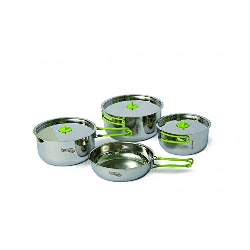 Pingouin de camping Kit de cuisine Trio L en acier inoxydable pour 2–3 personnes pour camping trekking Randonnées itinérantes