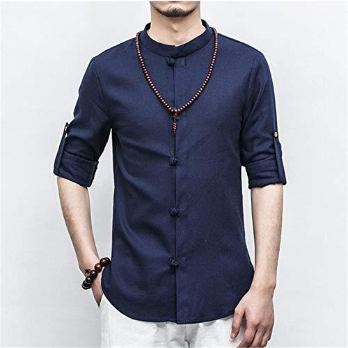 Automne col de Chemise Chinois Court/Plein Manches Tangsuit Vêtement Traditionnel Chinois Veste Hommes Kung Fu Hanfu Style-Couleur 7_XL Hyococ (Color : Color 3, Size : M)