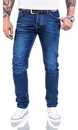 Rock Creek Designer Herren Jeans Hose Stretch Jeanshose Basic Slim Fit [RC-2115 - Blue Denim - W40 L30]