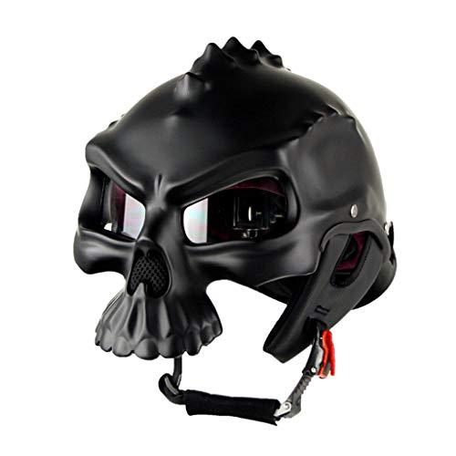 Casco de Moto,Casco Abierto,Creativo Uso Dual Cráneo Casco Moto Retro Mujer y Hombre para Motocicleta Ciclomotor y Scooter Bicicleta Fuera de la Carretera Locomotora Helmet,Dumb Black-XL(59~60CM)