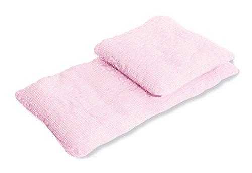 Pinolino Puppenbettzeug für Puppenwagen Vichy-Karo, 2-tlg., mit Kopfkissen und Bettdecke, waschbar, Bezug 100 % Baumwolle, für Mädchen ab 1 J., rosa