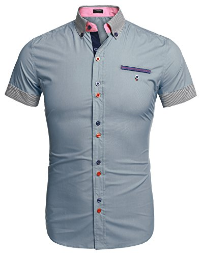Coofandy Camisa Hombre Manga Corta Casual Verano Imformal de Moda para Playa