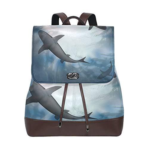 Mochila Escolar, Sharks PU Leather Backpack Photo